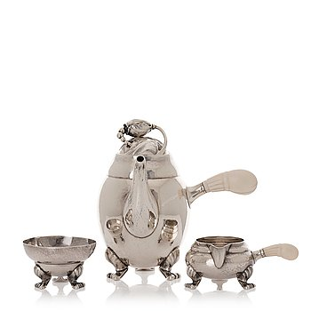 "148. Georg Jensen, a three pieces sterling silver ""Blossom"" mocca service, Copenhagen 1933-44."