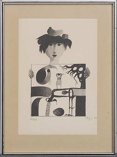 Stig lindberg, two lithographs, signed -64 & -77.