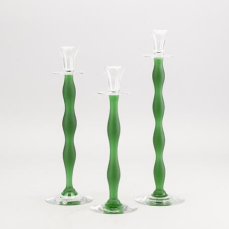 """Anne nilsson ljusstakar 3 st """"celeste""""  orrefors sent 1900-tal glas."""