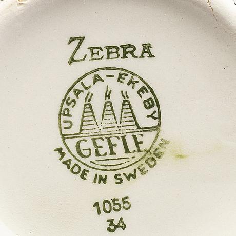 "Eugen trost, 6 st tekoppar med fat,  stycken, flintgods, ""zebra"", gefle."
