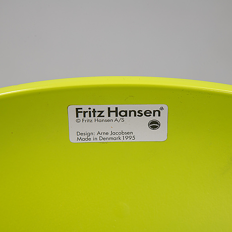 "Arne jacobsen, stolar 6 st ""myran"", fritz hansen, 1995."