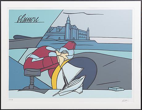 Valerio adami, färgserigrafi, signerad och numrerad 179/200.