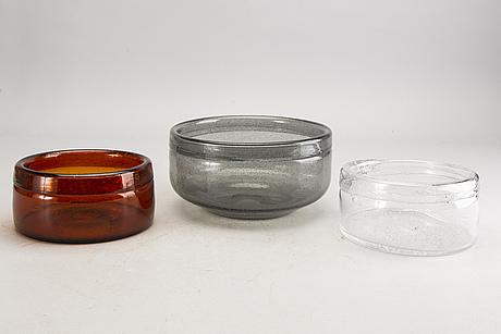 Erik höglund, skålar samt vaser 6 st boda 1900-talets senare del glas.