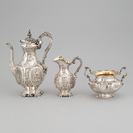 A swedish silver coffee pot, creamer and sugar bowl, mark of gustaf möllenborg, stockholm 1860-62.