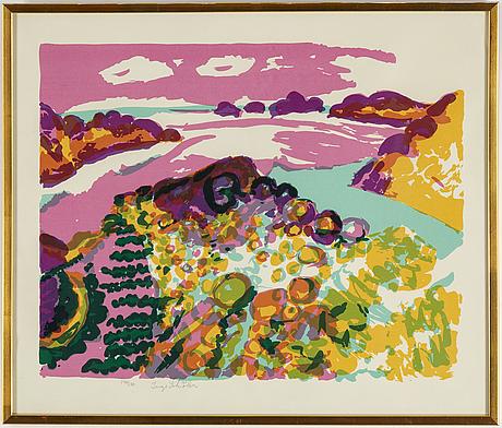 Inge schiöler, färglitografi, signerad och numrerad 140/170.