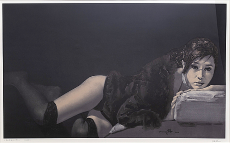 Hou qing, lithograph in colours signed and dated 1/49.