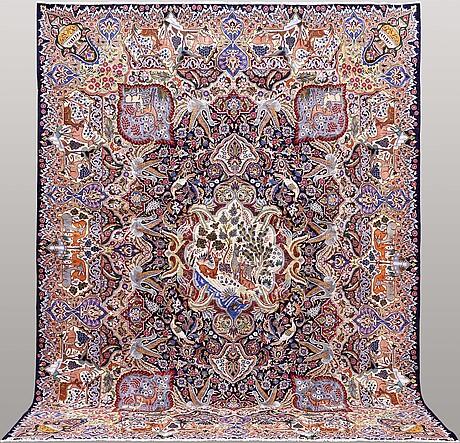 A carpet, figural kashmar, ca 375 x 295 cm.