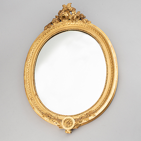 A mirror and a pair of mirror scones, gustavian style, 20th century.