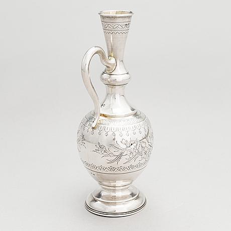 A silver carafe, maker's mark of vasili ivanovich ivanov, assay master lev fedorovich oleks, moscow, 1894.
