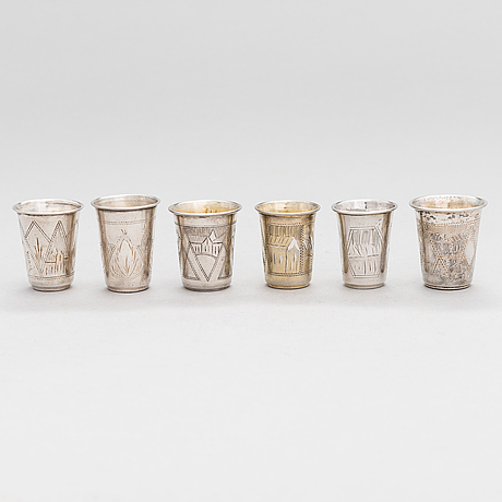 A set of six silver vodka cups, kyiv and vilnius, late 19th and early 20th century.