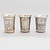 Three silver beakers, kyiv, ca. 1880-1908.