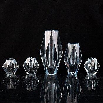 Asta Strömberg, five glass vases for Strömbergshyttan.