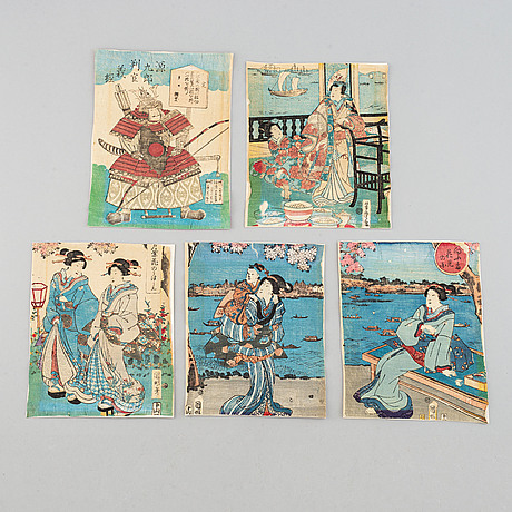 Five japanese coloured woodblock prints. japan, 19th century.