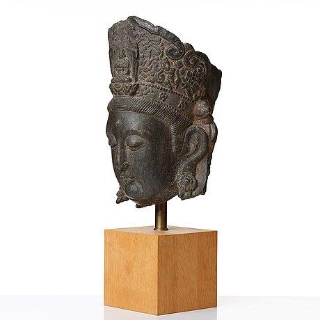 Skulpturhuvud, sten. mingdynastin (1368-1644).