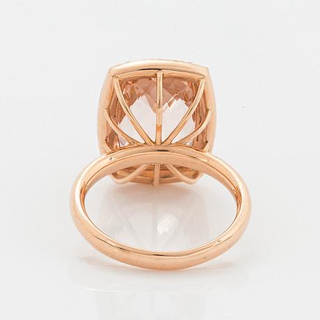 Morganite and brilliant-cut cocktail ring.