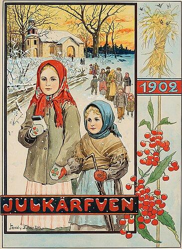 "Jenny nyström, ""julkärfven 1902"" (cover illustration for christmas publication in 1902)."