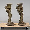 A pair of late 20th century cast iron garden urns.