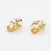 Pearl and brilliant-cut diamond earrings.