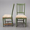 Five late gustavian chairs, ealry 19th century.