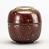 An fyance jar with lid by hans hedberg, biot, france.