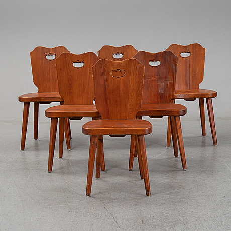 6 stained pinewood chairs, mid 20th century.