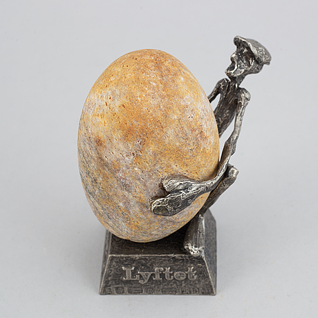 Henry gustafsson, a 'lyftet' sculpture, pewter and stone, 1986.