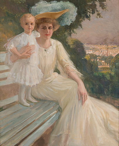 Albert edelfelt, aino ackté and her daughter glory.