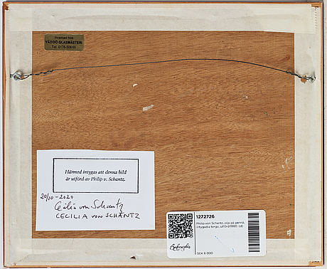 Philip von schantz, oil on panel, certified verso, executed in 1980.