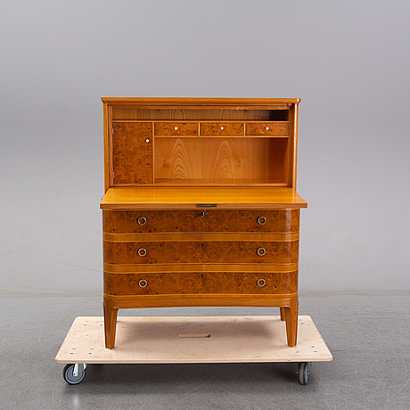 A swedish modern elm and burr birch secretaire, ab Åby möbelfabrik, fjugesta, 1940's.