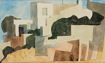 Philip von Schantz, watercolor, executed 1950, certified verso.