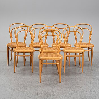 Thonet, a set of 8 mid 20th century bentwood chairs.