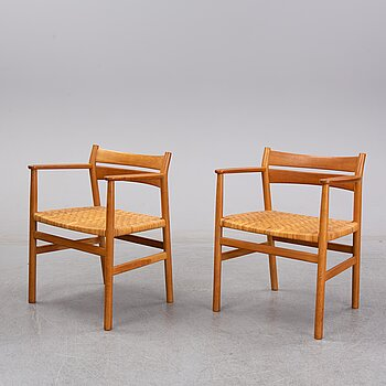 Børge Mogensen, a pair of oak and rattan 'BM1' chairs, CM Madsen, second half of the 20th century.