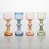 Kaj franck, a set of four kf245 glass vases, all signed. nuutajärvi notsjö.