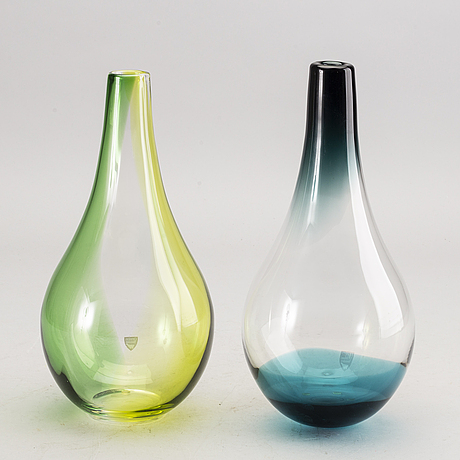 Lena bergström, 2 signed and numbered glass vases.