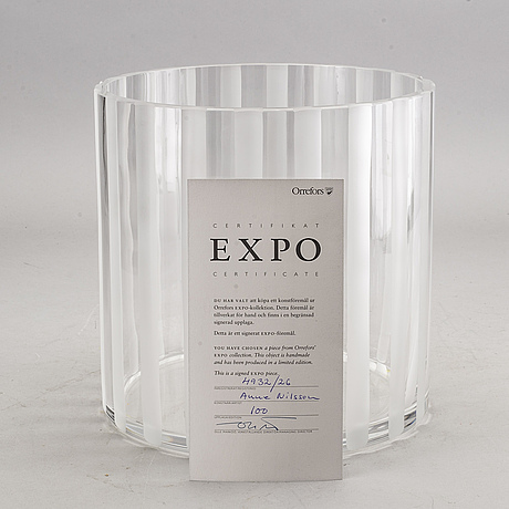 Anne nilsson, a signed and numbered glass vase.