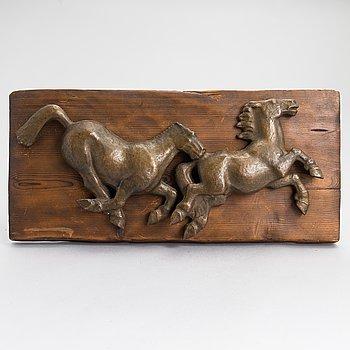 Oskari Jauhiainen, relief, bronze and wood.