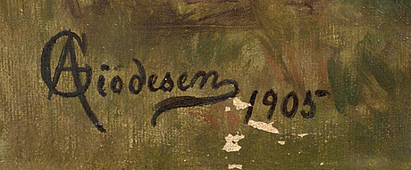 Aage giödesen, oil on canvas, signed and dated 1905.