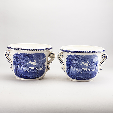 Flower pots rörstrand, a pair, turn of the century 1900 / early 20th century.