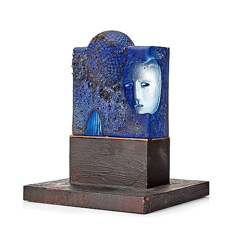 Bertil vallien, a unique sand cast blue glass sculpture, kosa boda, sweden.