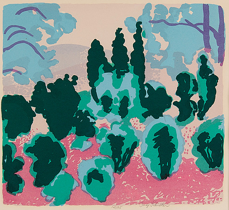 Inge schiöler, lithograph in colours, signed 12/95.