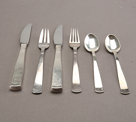 Jacob Ängman, a part 'rosenholm' silver cutlery, gab, stockholm, mixed years (24 pieces).