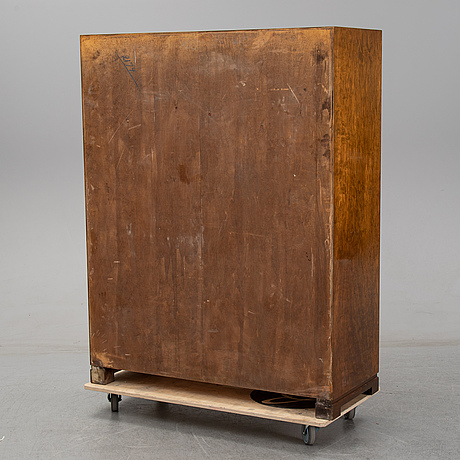 Axel larsson, an elm and stained birch cabinet, ab svenska möbelfabrikerna, bodafors, 1930/40-tal.