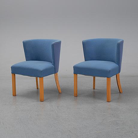 Fritz henningsen, a pair of beech easy chairs, fritz hansen, denmark.