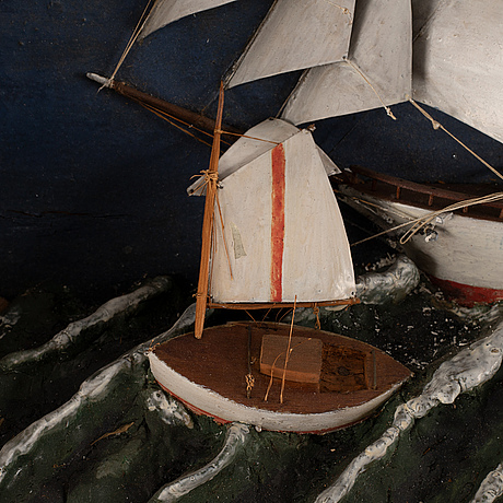 A ship diorama, first half of the 20th century.