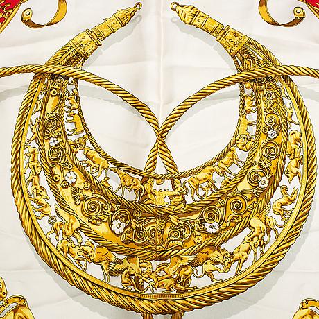 Hermès, a 'les cavaliers d'or' silk scarf.