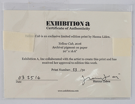 Hanna lidén, archival pigment print, signed on certificate 13/50.
