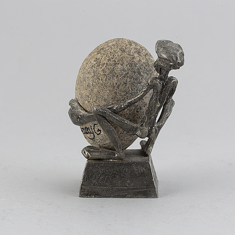 """Henry gustafsson, """"lyftet"""",  tenn och sten, vimmerby, signerad, 1986."""