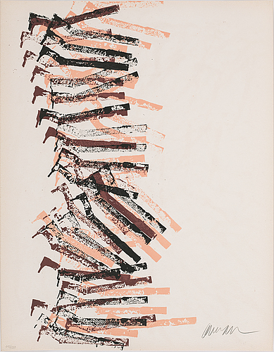 Fernandez arman, portfolio with 5 lithographs in colour, 1977, signed 143/250.