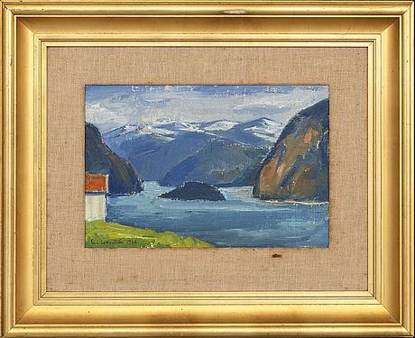 Eva cederström, olja på pannå, signerad och daterad 1948.