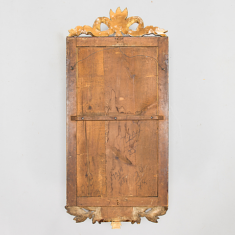 A swedish gustavian mirror signed lago lundén and hallmarked stockholm 1782.